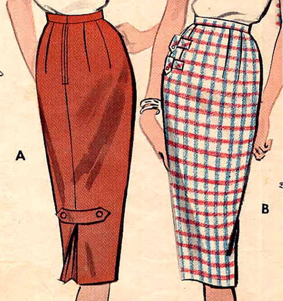 1950s and easy pencil skirt vintage sewing pattern