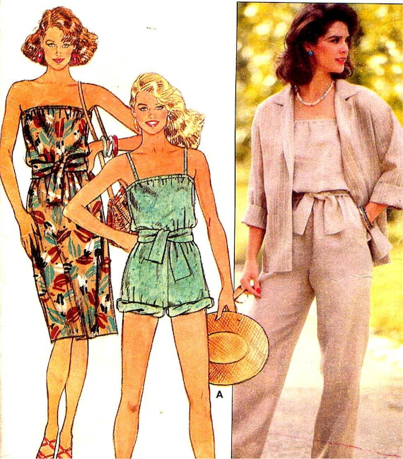 Butterick 6553 Strapless Sundress Blouson Jumpsuit or Romper and Jacket Vintage 80s Sewing Pattern--Bust 36 to 40