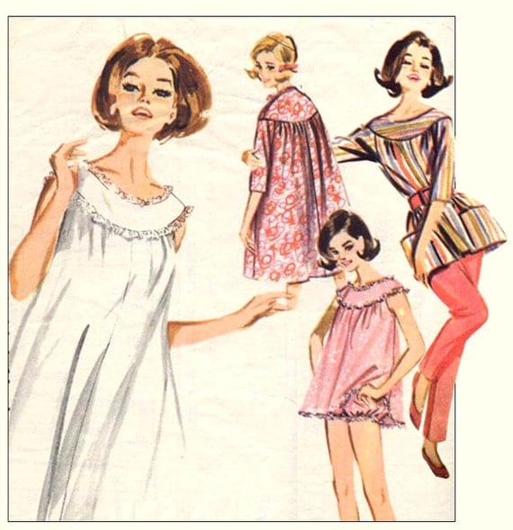 1960s Butterick 2198 Lingerie Coordinates Vintage Sewing Pattern Brunch Coat, Babydoll Pajamas, Nightie, Smock and Pencil Pants--Bust 36