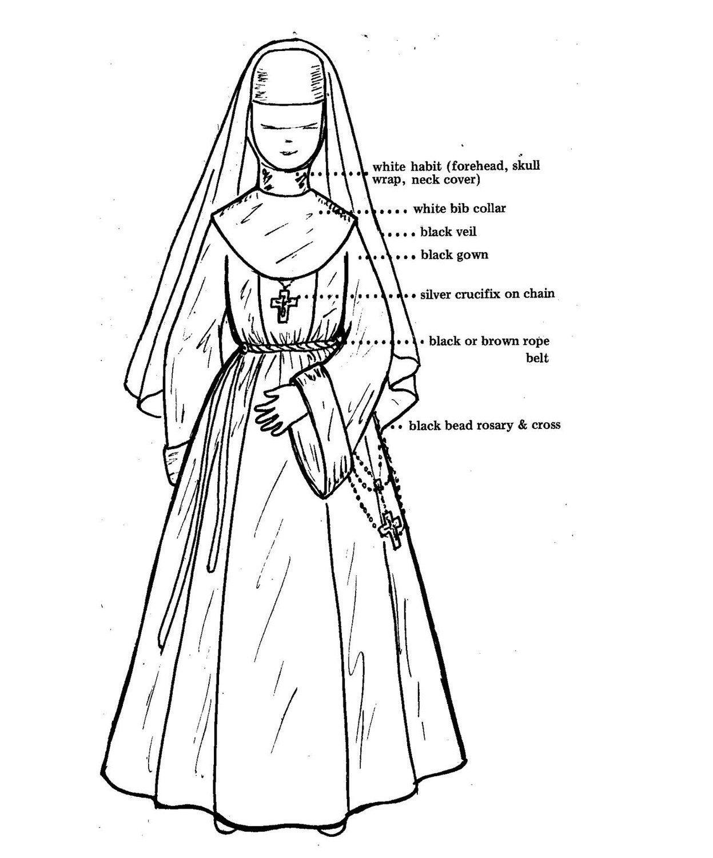Vintage 1977 Joan Chiara Original Catholic Nun Costume for