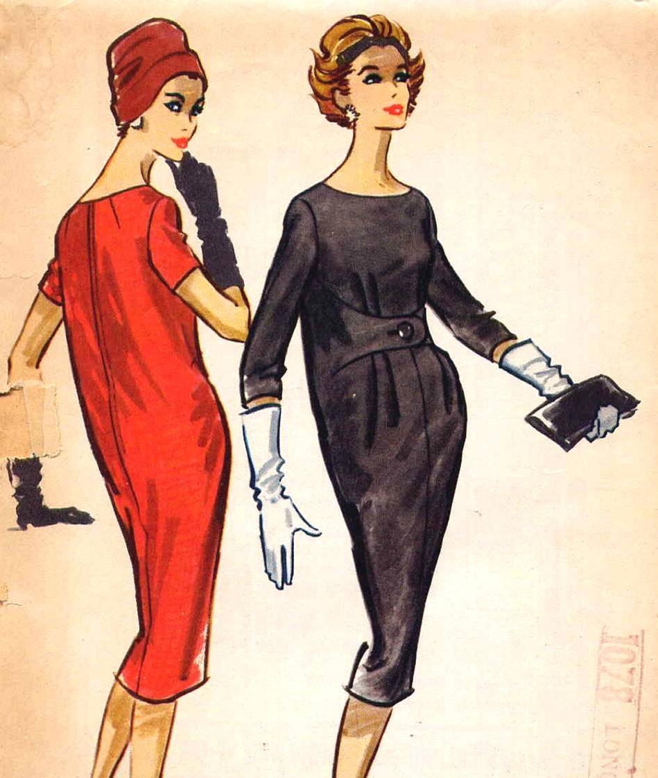 Vintage 1950s Sack Or Chemise Dress With Front Belt Vintage