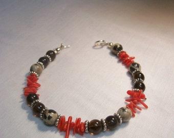 Smoky Quartz and Coral Bracelet