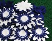 80 piece felt flower grab bag Royal Blue and Ivory