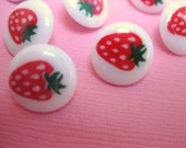 12 White Strawberry Shank Buttons