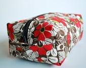 Large Makeup Bag - Zippered Box Style - Fall Daisy