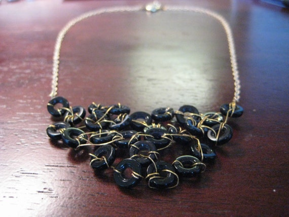 Edgy Statement necklace with black bib