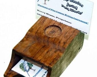 Red Oak Desk Top Business Card Holder with State Quarter