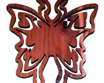 Aromatic Cedar Butterfly Scroll Saw Art