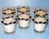 Wedding Candle Votives Black Ribbon and Pearl - Custom Listing for Sarah