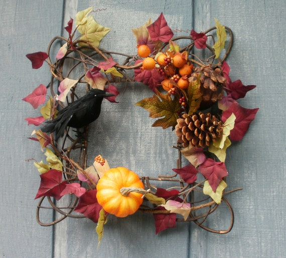 Fall Treasures Square Wreath by Silk N Lights Designs