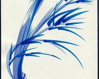 WIND   Original Japanese sumi-e ink wash bamboo painting
