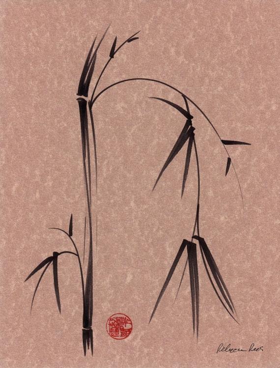 SORROW - Original ink brush pen sumie bamboo painting
