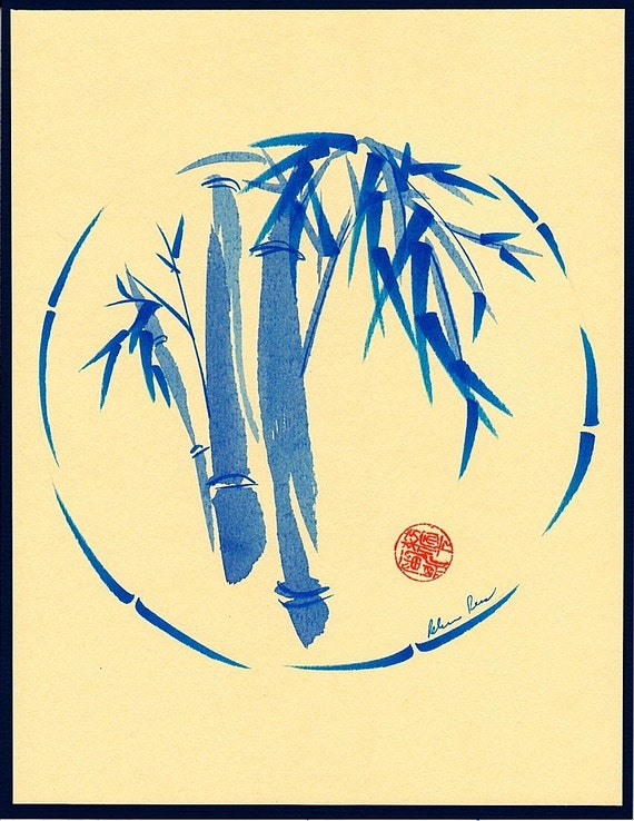 Original Enso Zen Painting Throw Pillows: ENSO BLU Original Chinese Enso Painting By Rebecca By