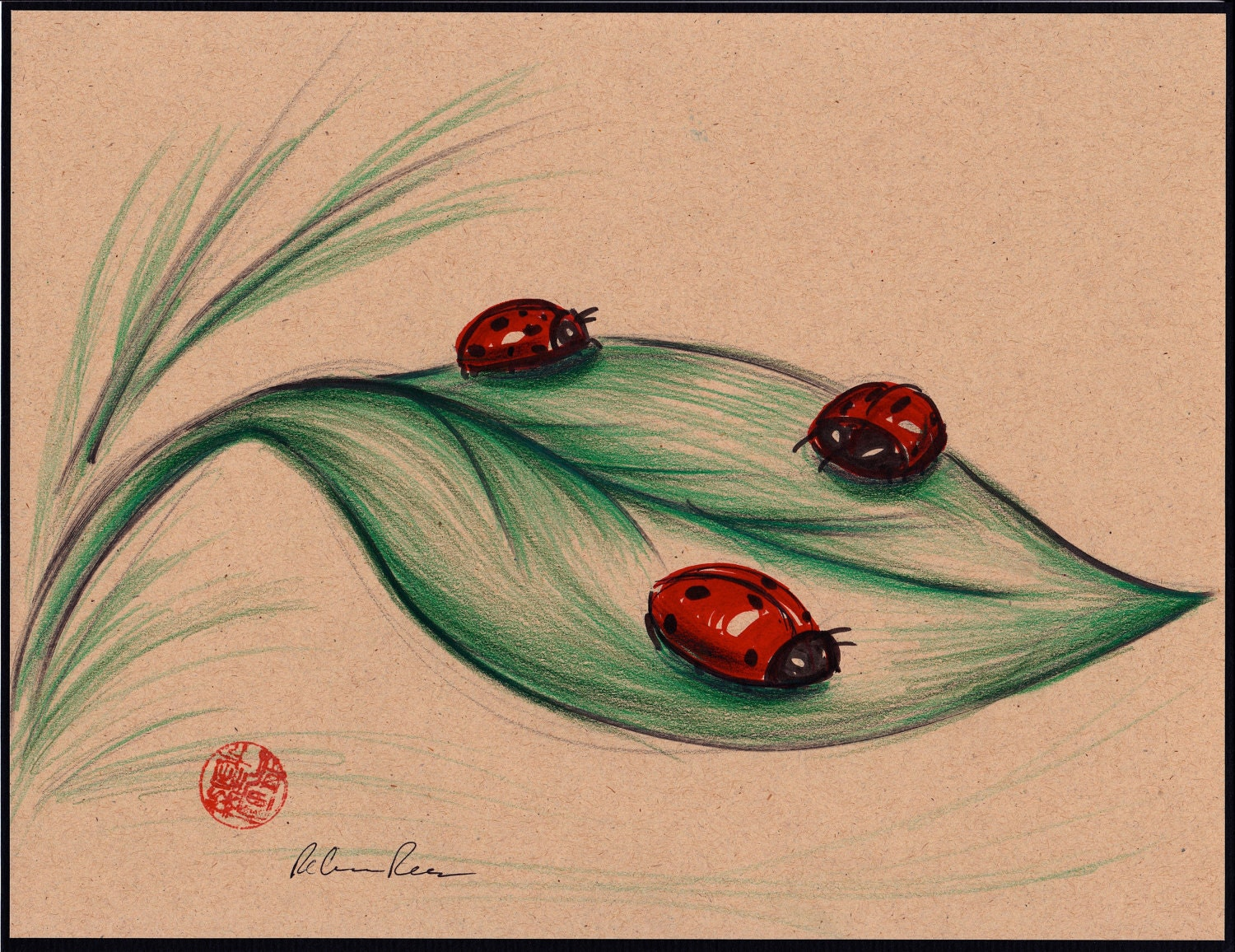 Realistic ladybug drawing - photo#15