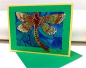 Dragonfly Greeting Card - Sewn Drawing and Applique on Paper