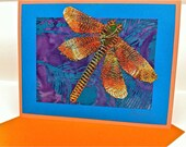 Ooak Dragonfly Greeting Card - Sewn Drawing on Paper