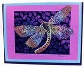 DRAGONFLY GREETING CARD - Sewn Drawing on Paper