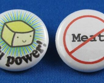 Vegetarian pinback button set