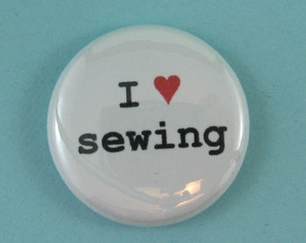 I heart sewing pinback button