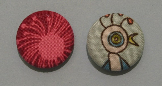 Colourful fabric covered magnet set