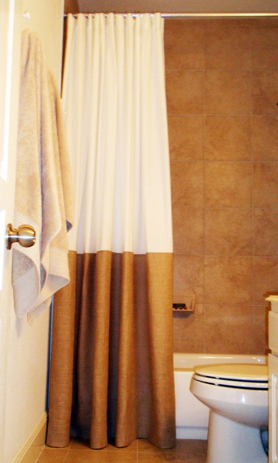 Items Similar To Burlap Trimmed Shower Curtain 80x80 Extra Long And Extra Wide Country