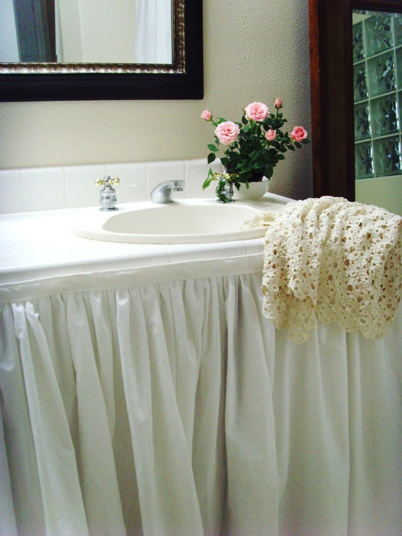 Items Similar To Fabric Sink Skirt For Vanity Or Pedestal Sink By Simple Linens Shabby Cottage
