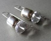 sterling silver earrings - metallic silver vintage beads - rock steady