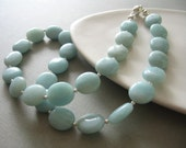 amazonite necklace, pale blue and silver, beachy classic