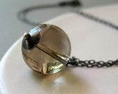 sterling silver necklace, smoky quartz, oxidized silver - fortune teller