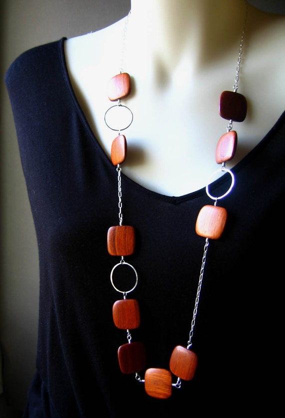 sterling silver necklace with flat bayong timber beads - stepping stones
