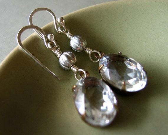 looking glass earrings - vintage jewels on silver