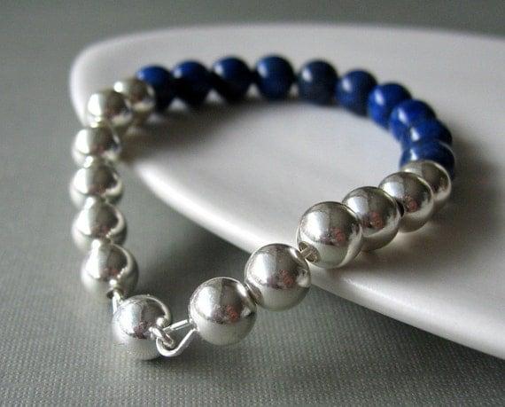 sterling silver bracelet. lapis and sterling silver balls - wayward bracelet