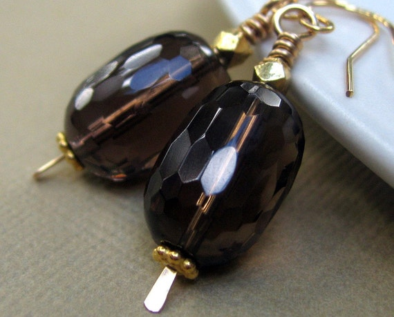 faceted smoky quartz and gold earrings