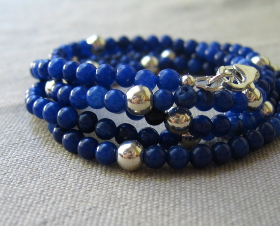 royal blue jade necklace, sterling silver bubbles, long layering classic