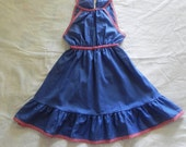 FINAL CLEARANCE Picnic Sundress Blue with red and white gingham trim