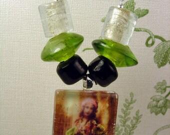 Victorian St Patrick's Day Shamrock Girl Glass Pendant Necklace