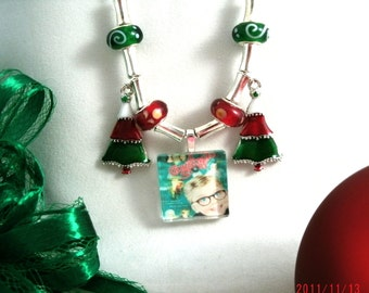 A Christmas Story Glass Pendant Necklace with Christmas Tree Earrings Free shp