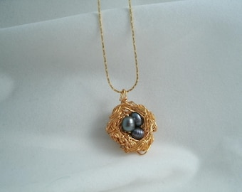 Birds Nest Blue Fresh Water Pearl Necklace