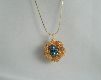 Bird nest Blue Glass Pearl Necklace with Gold plated Fine Chain
