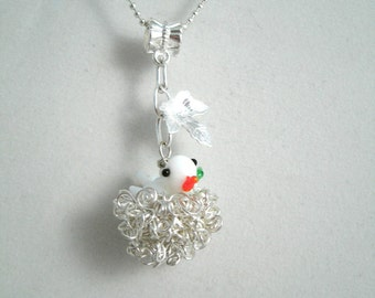 Lampwork Glass Bird Sitting on the Nest  Silver plated Oak Leaf Necklace