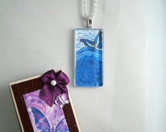 Blue Butterfly Glass Pendant in matching Restyled Vintage Gift Box