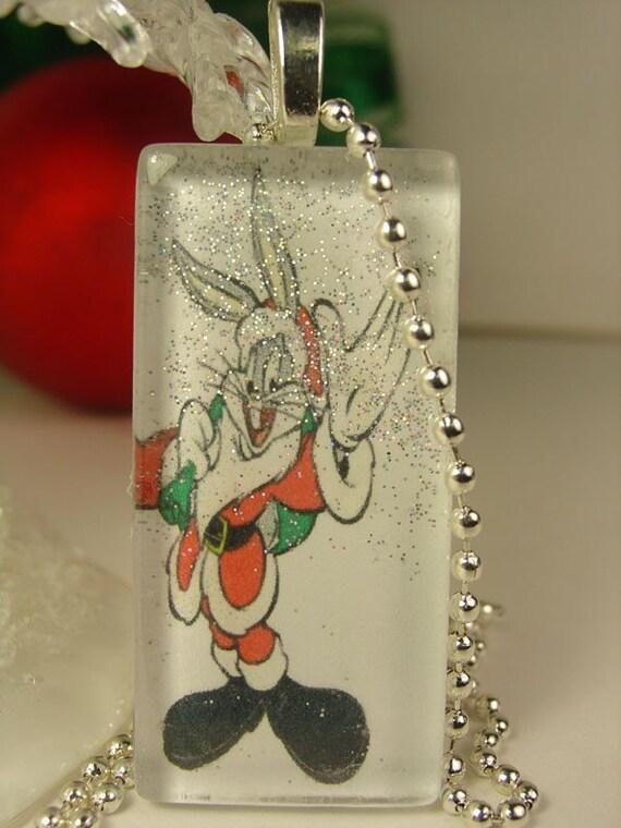 Bugs Bunny Santa Glass Rectangle Pendant Necklace