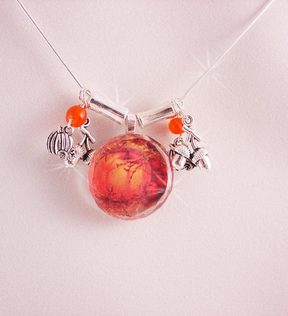 Glass Pendant  Necklace with charms in warm Autumn Colors