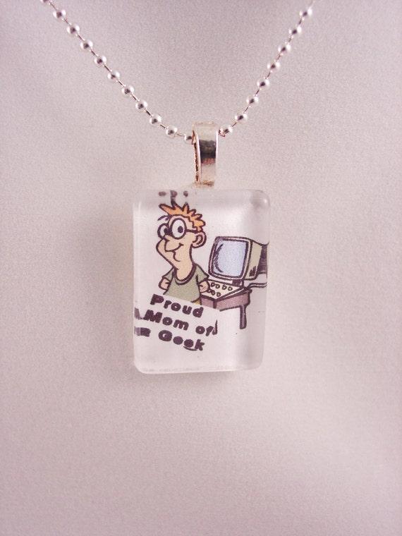 Proud Geek Mom Glass Pendant Necklace