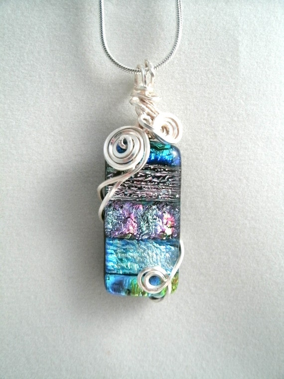 Wire Wrapped Lampwork Glass Pendant Necklace Earring Set (Free Shp)