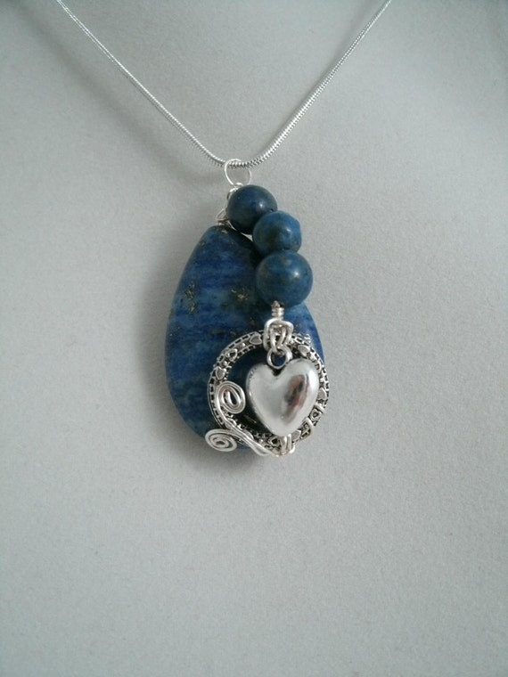 Wire Wrapped Lapis Teardrop Bead  Necklace with Earrings