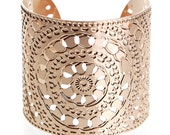 Rose Gold cuff bracelet, Wide Rose Gold bracelet, Rose Gold bangle, Henna jewelry, Rose Gold jewelry, Statement Cuff, Moroccan jewelry