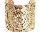 Gold cuff, Henna gold jewelry, Gold bracelet, Moroccan jewelry, Modern jewelry, Statement Cuff, Wide gold cuff bracelet, Hammered gold cuff