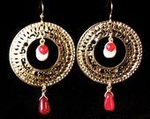Kabbalah Sacred jewelry, Gold & Cherry Quartz earrings, Pearl earrings, Holy jewelry, Jewish jewelry, Hebrew jewelry, Blessings Jewelry