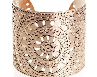 Rose Gold cuff bracelet, Wide Rose Gold bracelet, Rose Gold bangle, Henna jewelry, Rose Gold jewelry, Statement Cuff, Moroccan jewelry